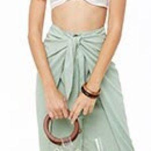Woven Tie front midi skirt